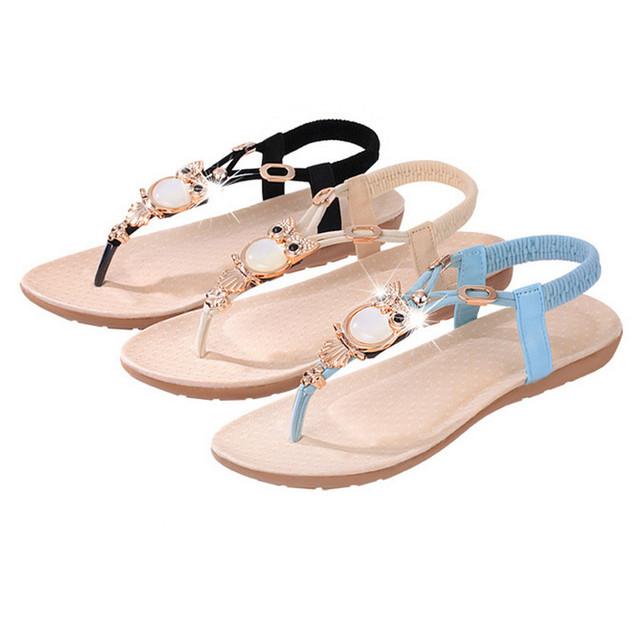 2016 Summer Flat Sandals Woman Shoes Sapato Luxury Owl Rhinestone Herringbone Women Sandalias Bohemian sandalias mujer RD863528