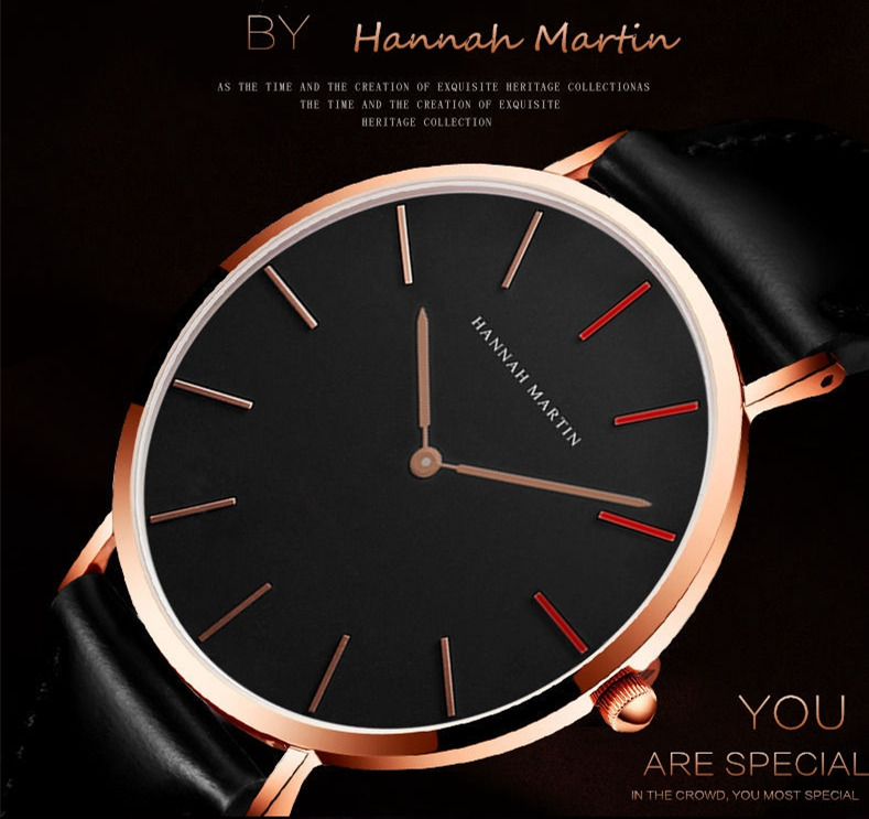 Hannah Martin Watch Top Brand Man Women's Watches Leather Strap Luxury Casual Ladies Watch Women Watches Men Brife Relojes