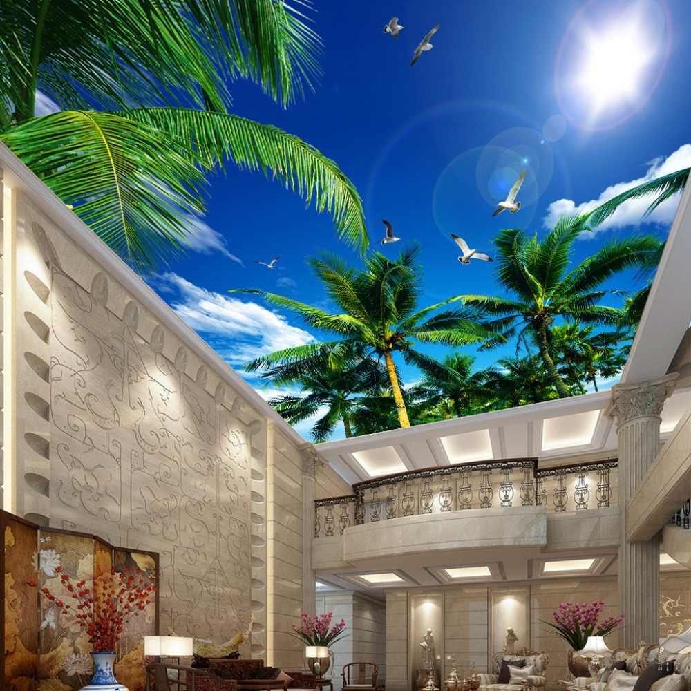 カスタム 3D 写真の壁紙青空と白雲ココナッツ木カモメ寝室リビングルームの天井壁画の壁紙塗装