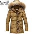 Alta calidad 2016 de Los Hombres de invierno cálido con capucha pato abajo parka chaqueta y de marca para hombre abrigo medio largo fur parka cálido abrigo chaqueta
