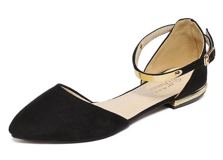 Spring/Autumn Solid Metal Decoration Flats Shoes Fashion Women Flock Pointed Toe Buckle Strap Ballet Flats Size 35-40 K257 memunia 2017 fashion flock spring autumn single shoes women flats shoes solid pointed toe college style big size 34 47