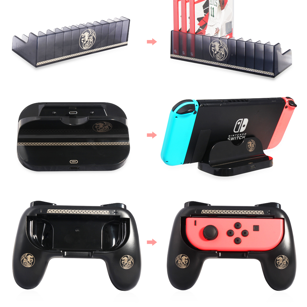 Hot selling TNS-860 3 in 1 Nintend Switch Hunter Kit, Controller Grip, Charge Stand, Game Card Box Storag for Nintendo Switch 2