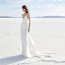 Verngo Mermaid Wedding Dress V-neck Soft Stain Ivory Beach Gowns Bride Vestidos De Novia 2019 Vestido Noiva