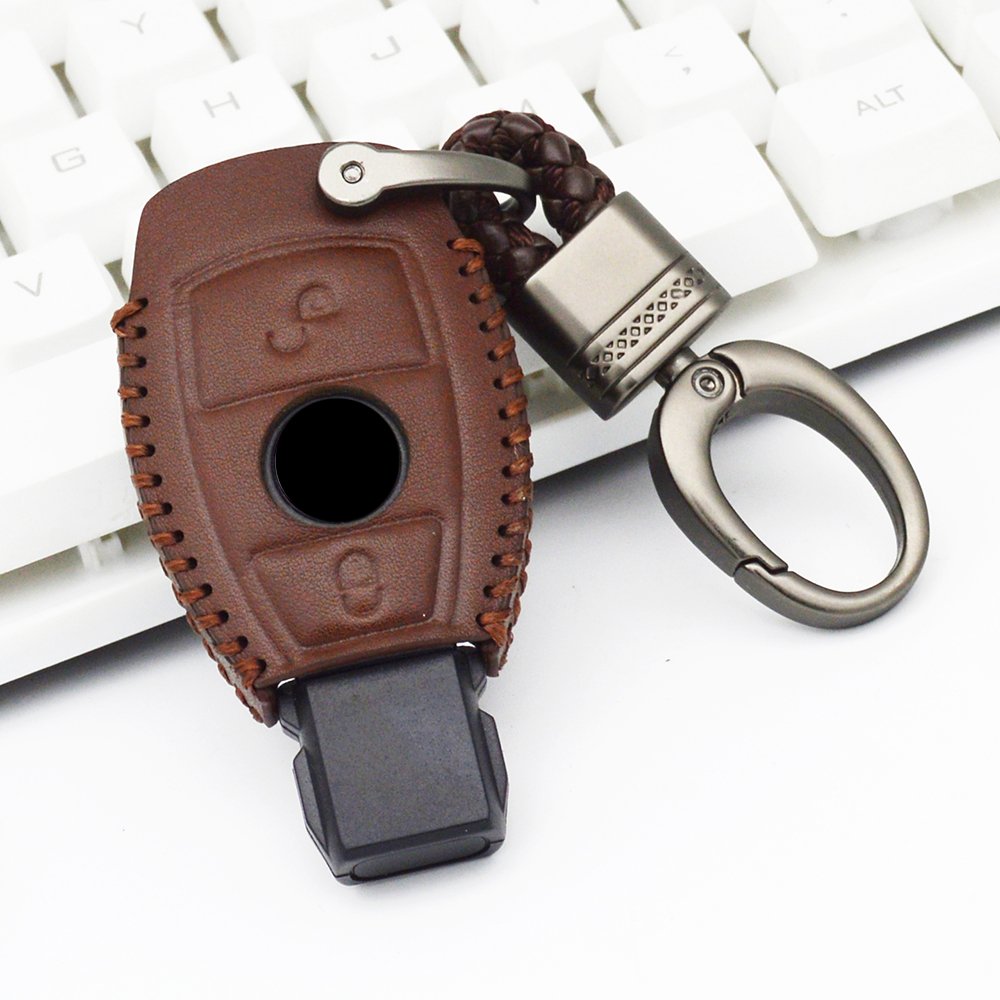 Genuine Leather Car Key Case Cover for Mercedes Benz CLK ML SLK B C E S Class Keychain Accessories Car Styling for Mercedes Benz image