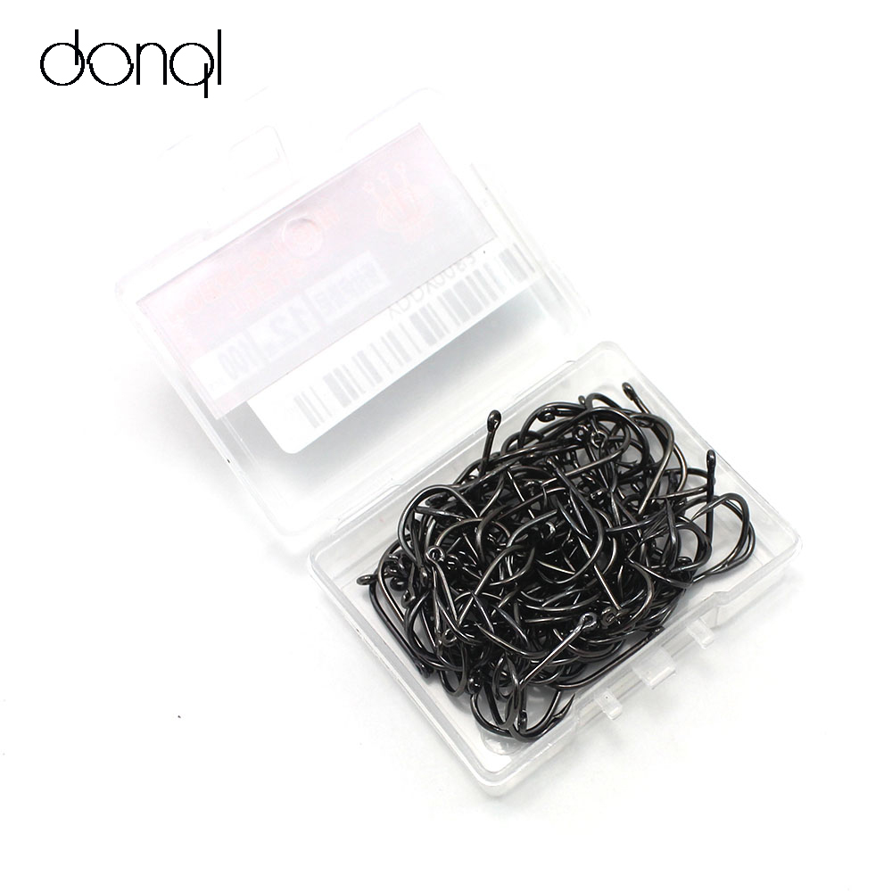 DONQL 100pcs/lot Carbon Steel Fishing Hook Jig Hooks Fishhooks with Hole Fish Fly Fishing Tackle Box