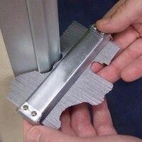Padrão de aço contorno irregular do perfil da decoração do calibre de medição do contorno profundidade contornada telha do metal telhas de aço 125mm|Instrumentos de medição de largura| |  -