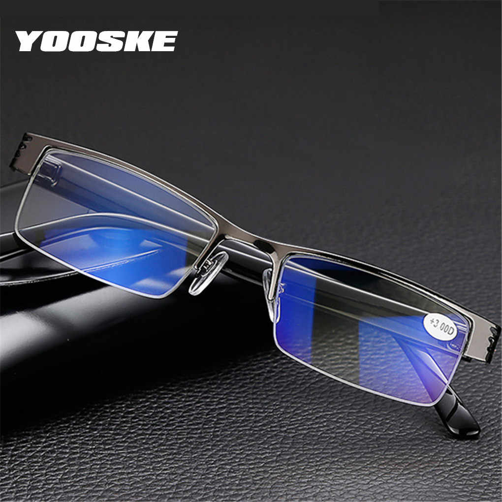 YOOSKE Blue Film Resin Reading Glasses Men Women Metal Half Frame Hyperopia Eyeglasses +1.0 1.52.02.5 3.0 3.5 4.0 Diopter