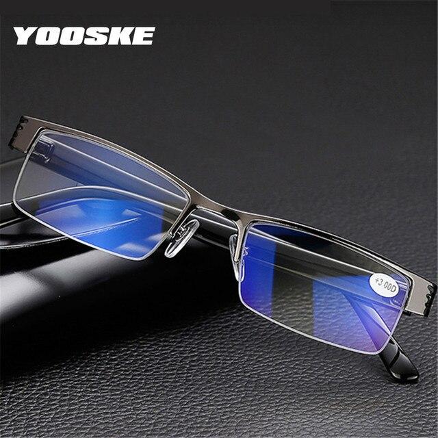 eeaa64dc3f YOOSKE Blue Film Resin Reading Glasses Men Women Metal Half Frame Hyperopia  Eyeglasses +1.0 1.52.02.5 3.0 3.5 4.0 Diopter