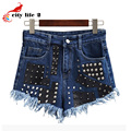 Beading High Waist Shorts Women Rivet Female Summer 2016 New Students Loose Burrs Short Jeans South Korea Short De Cintura Alta