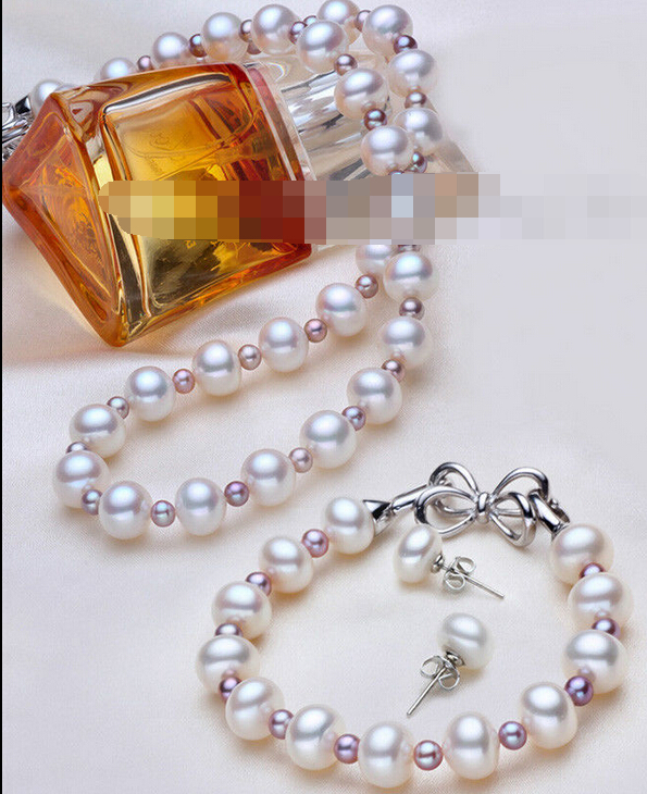 charm Jew.657 Sets Cultured AAA 7-8mm White & purple 3mm Akoya Genuine Pearl Necklace