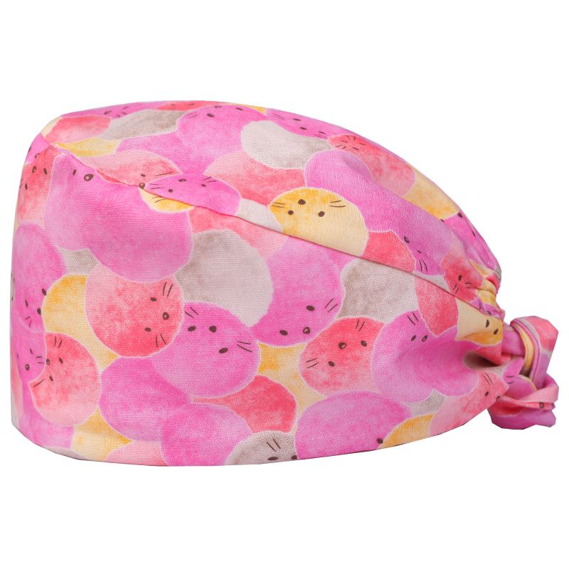 Watercolor Pink Cotton Scrub Caps For Women Medical Surgical Hats Hospital  Printing Tieback Elastic Section Surgical Caps Pet