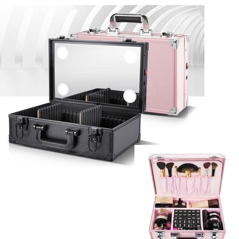 large choix de designs dernières tendances mode de premier ordre €143.56 36% de réduction|Professionnel trousse à maquillage portable avec  Miroir Boîte de rangement maquillage LED Boîte avec Miroir Complet-in ...
