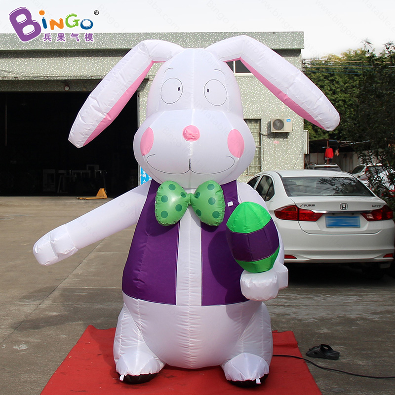 Easter festival 2.4 Meters high big inflatable bunny with egg customized digital print inflatable standing rabbit toy sports