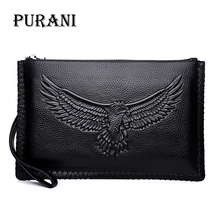 PURANI Fashion Men Wallet Genuine Leather Purses Long Purse Vintage Handy Bag High-Capacity Card Holder Man Wallets