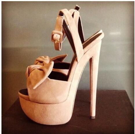 ФОТО 2016 Summer Sweet Style New Color Beige Suede Solid Big Bowtie High Heel Sandals High Platform Dress Stiletto Heel Party Shoes