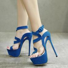 Sexy Blue Heels Pumps Women Shoes Peep Toe Cut-out Cross Strap PVC Buckle Strap Platform Shoes Stiletto Heels Banquet Shoes
