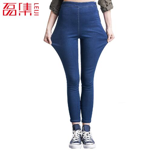 Jeans Mujer Leiji Fashion Women 3 Color Denim Jeans High Waist Leggings Elastic Skinny Femme Capris Plus Size Pants 4XL 5XL 6XL leiji fashion blue s 6xl 2017 woman mid waist plus size women leggings high elastic skinny pencil jeans capris pants femme