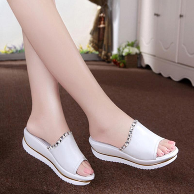 692212d6f255 Designer Women Summer Sandals Thick Heel Platform Wedges Sandals Sexy  Beading Slippers Sandalias Slides White Black High Shoes
