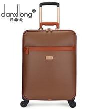 DANXILONG 20 22 INCH Men PU waterproof Trolley Luggage Case Men's Business Retro Travel Suitcase bag Rolling high quality Bags