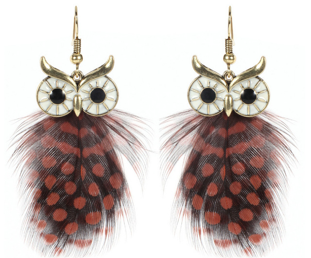 Vintage Owl Dangle Drop Earrings 2017 New Fashion Bohemia Jewelry Indian Feather Earring For Women Party