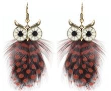 Vintage Owl Dangle Drop Earrings 2017 New Fashion Bohemia Jewelry Indian Feather Earring For Women Party Birthday E2361
