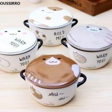 OUSSIRRO Cartoon Cat Creative Instant Noodles Bowl With Lid Ceramic Bowl Cute Student Job Bowl Soup Bowl
