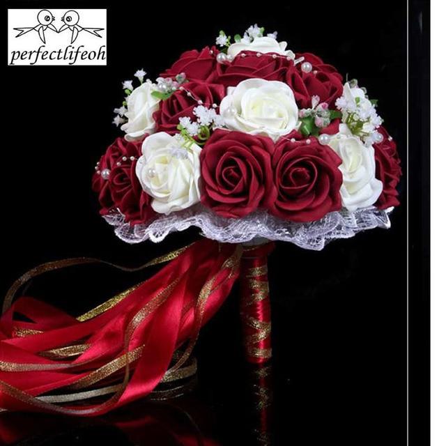 Fashion Cheap Burgundy Wedding Bouquet Pink/Red/White/Burgundy ...