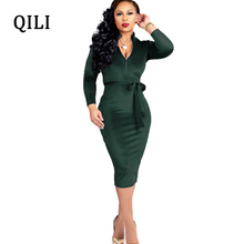 QILI Women Office Work Business Dress Zipper Neck Long Sleeve Belted Bodycon Dresses Fashion Velvet Elegant Pencil