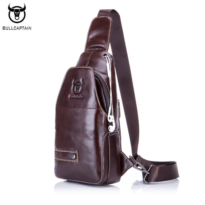 BULLCAPTAIN Genuine Leather Men Bag Casual Travel Chest Pack Brand Design Sling Chest Bags Cowhide Shoulder Crossbody Bag casual canvas satchel men sling bag
