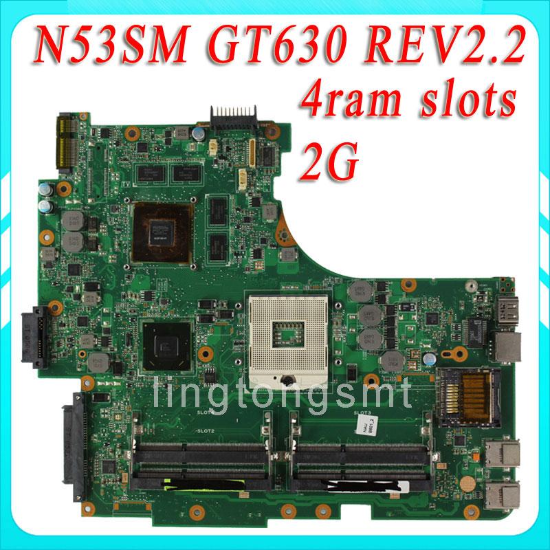 N53SV N53SN N53SM motherboard for ASUS N53SV REV2.2 Mainboard GT630 2G 4 RAM Solts tested ok