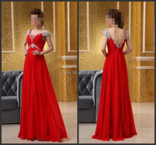 Langen roten abendkleid 2015 A-linie sexy v-ausschnitt beaded flügelärmeln open back chiffon silvester kleider vestido de festa longo