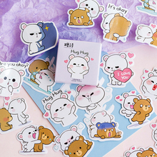Lovely Hug Bear Decorative Stickers Scrapbooking Stick Label Diary Stationery Album Stickers lazy cat meow decorative stationery stickers scrapbooking diy diary album stick label