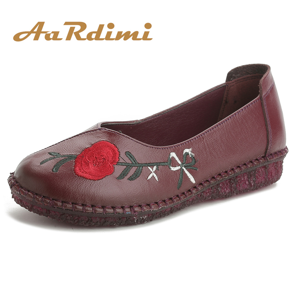 AARDIMI 100% Cow leather Women Shoes Flats Spring Flower Casual Women's Loafers 3 Colors Vintage Slip On Flat Shoes Woman cresfimix zapatos women cute flat shoes lady spring and summer pu leather flats female casual soft comfortable slip on shoes
