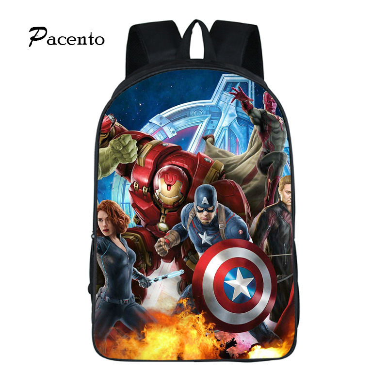 Pacento Designer The Avengers Backpack School Bags Boy Bags Shield Captain America Kids Backpack Fashion Leisure Backpack Cool