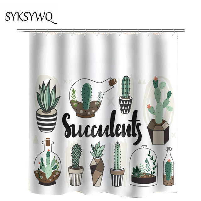 Green Cactus Shower Curtain Waterproof Potted Plants Succulents Bath Curtains 2018 Cheap Drop Shipping Bathroom