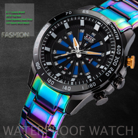 6.11 Luxury Brand Mens Top New Design Color Button Color Steel LED Sport Watch Men 100FT Waterproof Wrist Watch Diver Watches