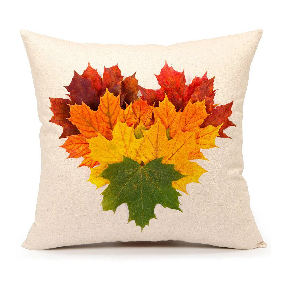 Autumn Leaves Fall Heart Home   Throw Pillow  Case 18 X 18 Inch Cotton Linen For