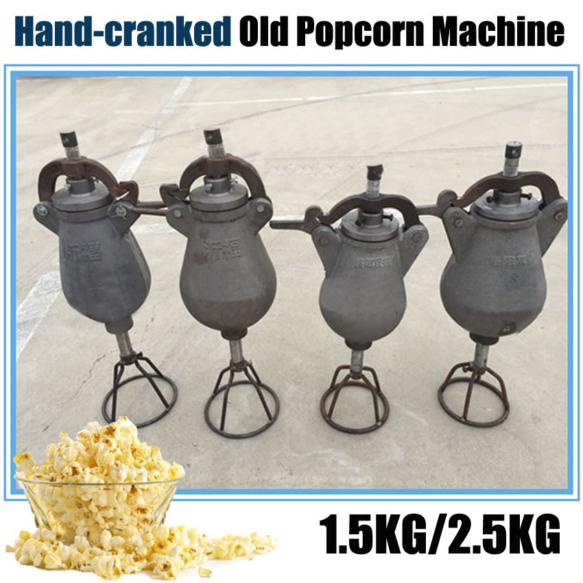 1PC 1.5KG Hand-cranked old Popcorn machine Popcorn maker Puffed rice machine Sealing the lid with a rubber pad