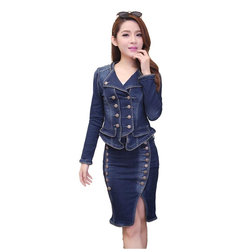 Veste Short 2 Jupe Sleeve Denim Robe Bouton long Blue D'été Printemps Longues Jeans Manches Costumes En Ensemble Costume À Femmes Chemises Pièce Blue Courtes nqwYEwHF