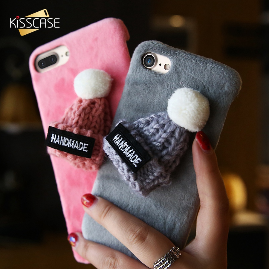 Iphone 6 Plus Christmas Case.Us 2 99 30 Off Kisscase Christmas Case For Iphone 6 6s 7 8 Plus X Girly Hat Fur Plush Phone Cover For Iphone 5 5s Se 7 Plus Christmas Hat Shell In