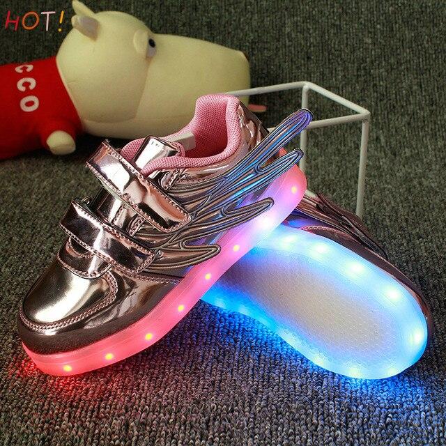 2017Hot! Eur Размер 25-37 Дети Shoes with Lights Светящиеся Кроссовки Световой для девочки и мальчик Люминесцентные Обувь