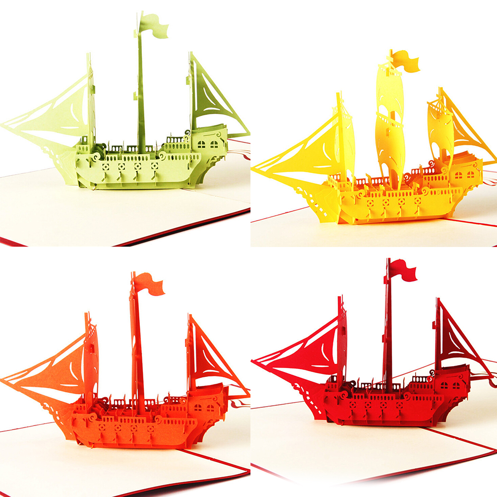 2016 New 4 Colors   3D pop up Ship greeting card happy birthday Wedding Gift  set Paper postcard Wholesale