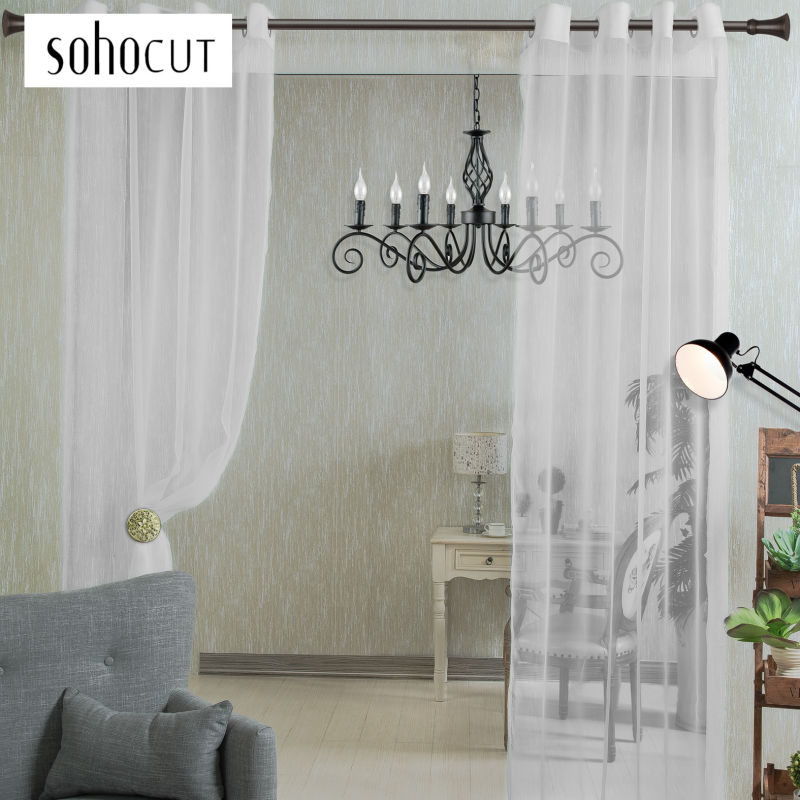 White, Green,Light Yellow Modern Solid Style Tulle Curtains, Crochet  Curtain,Bedroom