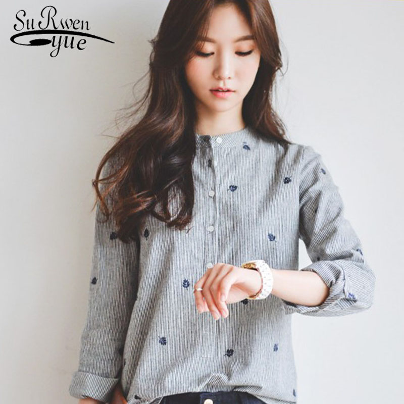 New 2019 fashion grey striped women   blouse     shirt   long sleeve leaf embroidery women's clothing office lady's tops blusas 335F 30