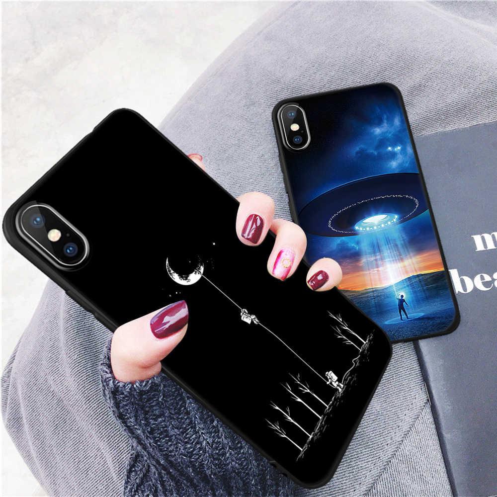 Siliconen Cover Printing Telefoon Case Voor iPhone XR X XS Max 7 8 6 S 6 S Plus Matte Cases hart Ruimte Brief Mode Coque Fundas