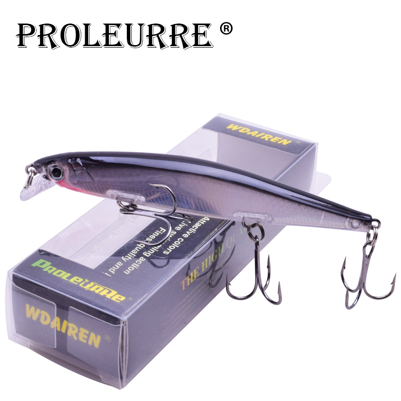 Proleurre 1PCS Minnow Fishing Lure Laser Hard Artificial Bait 3D Eyes 11cm 14g Fishing Wobblers diving 0.2m-1m Crankbait Minnows(China)