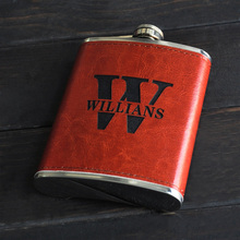 Personalized Engraved Flask Leather Wedding Gift Hip Custom