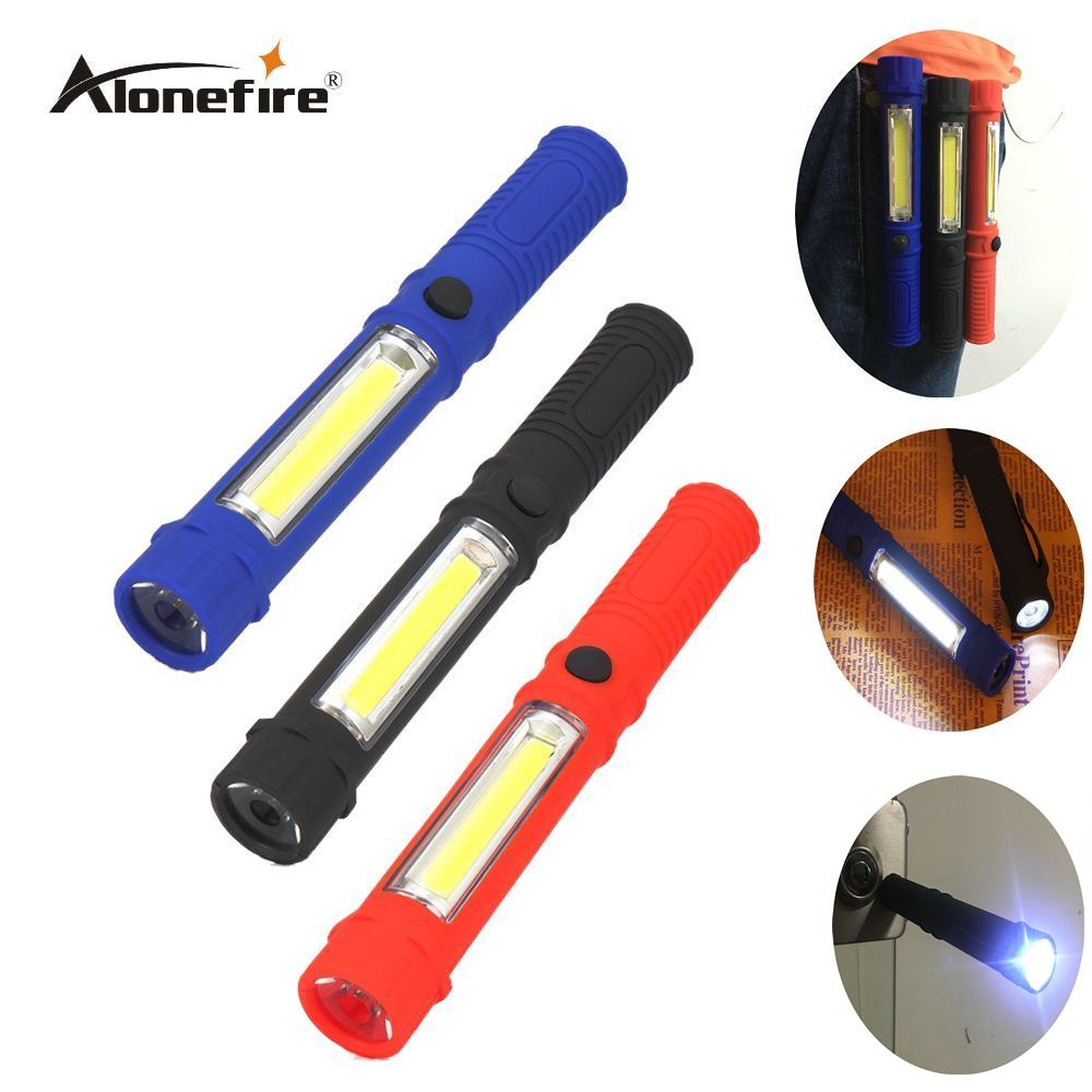 AloneFire X300 LED Flashlight COB Led Portable Plastic Perfect Torch Lamp With Magnetic And Clip For Camping Outdoor Sport Light led hook light magnetic flashlight perfect torch work lamp with magnet and 2 light modes camping outdoor sport drop clh