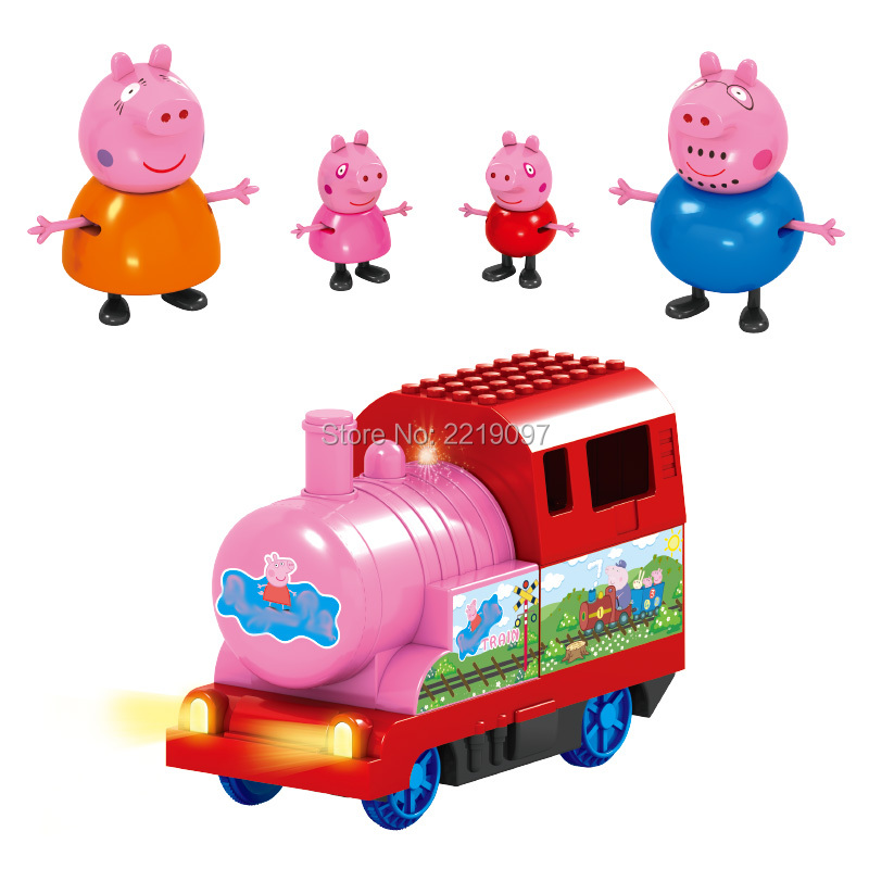 Free Shipping Pink Pig Set Family Member Cartoon Learning Bricks Kid Toys Train Early Educational Building Blocks Action Figures member