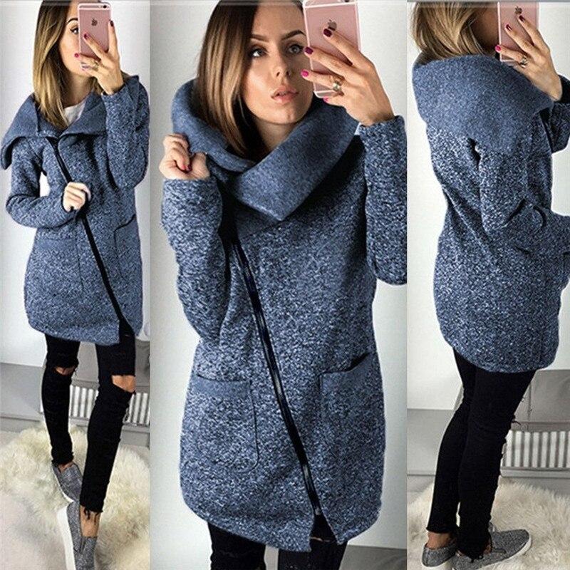 2019 Women Autumn Winter Warm Fleece Sweatshirt Hoodie Turn-down Collar Long Zipper Hoodies Pure Jacket Coat Outwear Plus Size